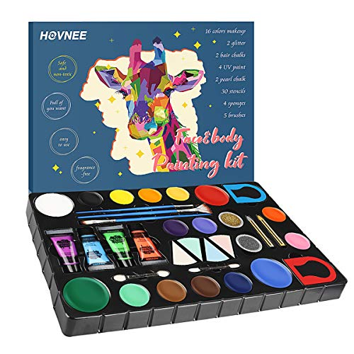 HOVNEE Pintura de cara Facial para Niños Kit de Pintura,maquillaje niños al agua Profesional Pintura,16 Colores 3 Pinceles,Rainbow MakeupSegura y para Pieles Sensibles Maquillaje Halloween