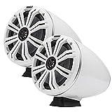 (2) KICKER 46KMFC8 300w 8' White Marine LED Speakers+Surface Mount Pods 46KMFC8W