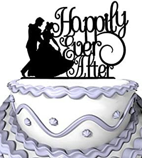 Meijiafei Wedding Cake Topper - Humble Girl Happily Ever After for Anniversary Party Cake Decoration
