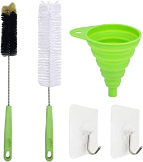 2 Pack Long Bottle Brush Cleaner, YuCool 17 Inch Long Water Bottle Brush Cleaner +1 Collapsible Funnel for Washing Wine, Beer, tea kettles, Tumblers, Thermos,Glass Jugs,Long Narrow Neck Sport Bottles+