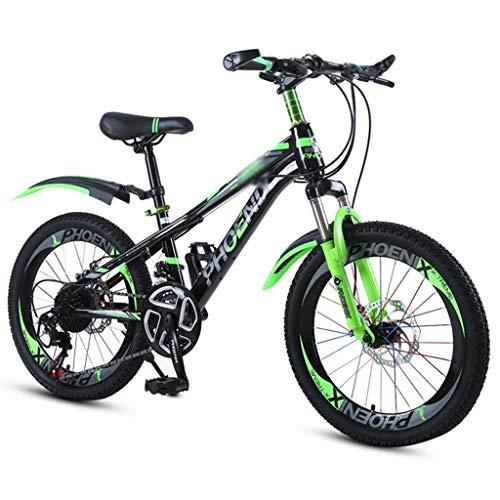 XXY Variable de la Escuela Infantil de Bicicletas Montañismo Mountain Bike Velocidad de Bicicletas adecuados for Las Bicicletas de los Estudiantes y de los niños (Color : Green, Size : 18INCHES)