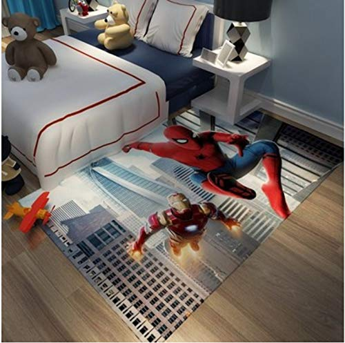 zzqiao Anime Cartoon Avengers Marvel American Captain Spider-Man Iron Man Habitación Infantil Alfombra Hogar Estudio Dormitorio Baño Alfombra Antideslizante 80 * 120 Cm