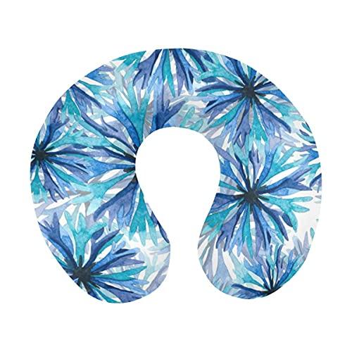 Acianos azules y violetas sobre un fondo blanco Almohada para el cuello de viaje de espuma viscoelástica en forma de U, Almohada de apoyo para la cabeza y el cuello para avión, automóvil, oficina, dor