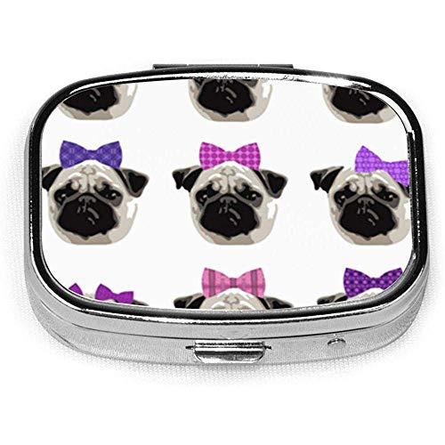 Mooie Pug Meisjes Beugel Aangepaste Gepersonaliseerde Vierkante Pil Doos Decoratieve Doos Vitamine Container Pocket Of Portemonnee