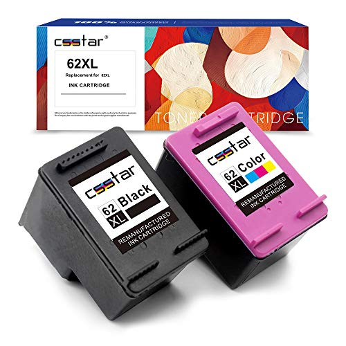 CSSTAR Remanufacturado Cartuchos Tinta Reemplazo para HP 62 62XL para ENVY 5540 5544 5640 5542 7640 5546 OfficeJet 250 5740 5742 200 Impresora, Negro y Color