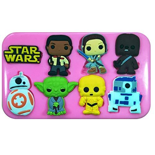 Molde de silicona para decoración de tartas, pasteles, magdalenas, glaseado, azúcar, herramienta de Fairie Blessings de Star Wars Finn Rey BB-8 R2-D2 C-3PO Yoda Chewbacca