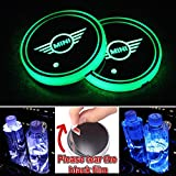 Heart Horse LED Cup Holder Lights, Car Logo Coaster with 7 Colors Changing USB Charging Mat, Luminescent Cup Pad Interior Atmosphere Lamp Decoration Light (2 PCS, Waterproof) (Fit mi-ni)