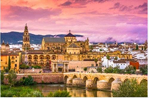 Puzzle de 1000 piezas de rompecabezas de madera Córdoba España Mezquita Catedral y Puente Romano Regalo para niños