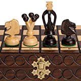 """Individually Crafted: Handmade chessmen. King: 2.8""""(7.1cm); Queen: 1.9""""(4.8cm); Pawn: 1.2""""(3cm) Pyrography Textured Design: Decorated through a traditional technique of burning patterns in wood. Board measures 11.3 x 11.1 x 0.9""""(28.8 x 28.3 x 2.4cm)...."""