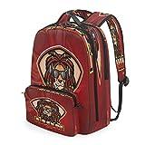 赤い煙のライオンヘッドショルダー バックパック メッセンジャー クロスボディ ラップトップ バッグ 学生 スクールバッグ ブックバッグ 女の子 男の子 用
