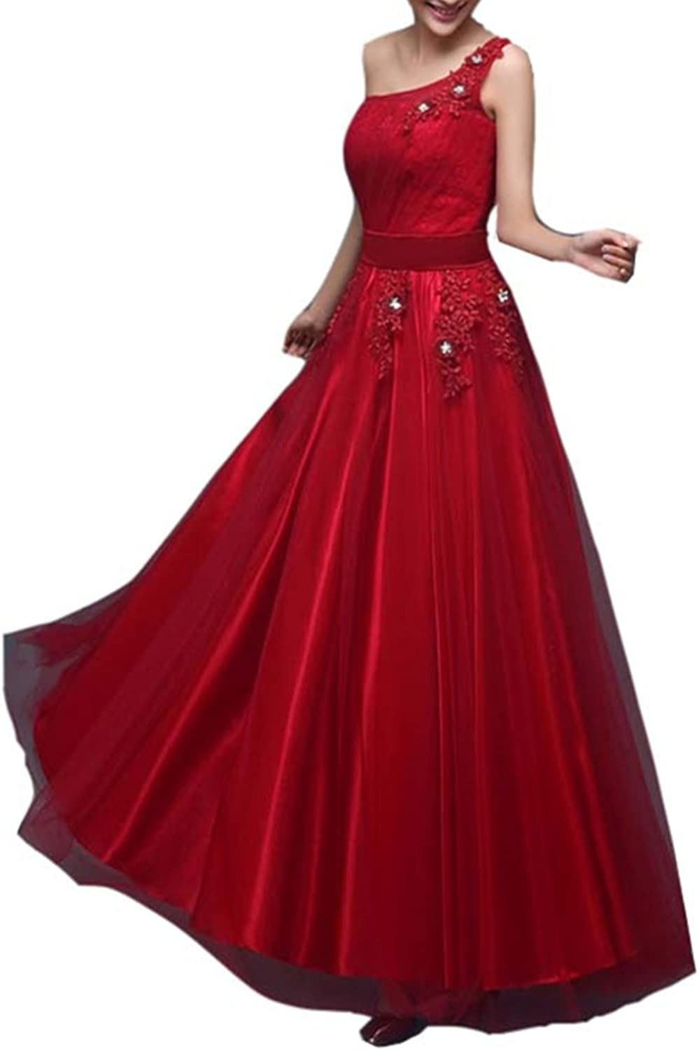 Emmani Women's One Shoulder Strapless Long Tulle Wedding Party Bridesmaid Dresses