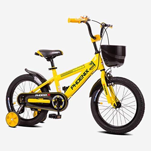 seveni Bicicletas para niños, Bicicleta para niños Bicicleta para niños Bicicleta para niños Deportes al Aire Libre Montar 2-10 años Niño Niña Bebé Carro Seguro (Color: Amarillo, Tamaño: 16 Pu