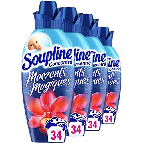 SOUPLINE - Adoucissant Concentré Moments Magiques Fraîcheur Florale - Assouplissant pour Linge - Fraîcheur Longue Durée - Facilite le Repassage - Bidon 800 ml - Lot de 4