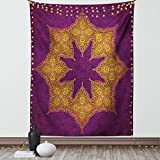 Lunarable Purple Tapestry Twin Size, Traditional Mandala Moroccan Royal Colors Mystic Cosmos Theme Print, Wall Hanging Bedspread Bed Cover Wall Decor, 68' X 88', Violet Yellow