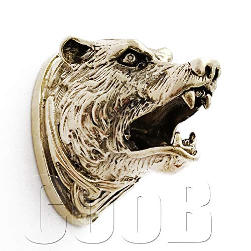 CooB Hand-Casted Knife Finger Guard Pommel Bolster Celtic Bear Grizzly for Knives Making Supplies Custom Handle Knife Making (Bear Grizzly)