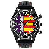 Timest - Bandera de Mallorca España - Reloj para Hombre con Correa de Silicona Negro Analógico Cuarzo SF536