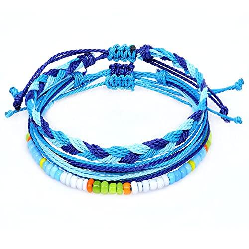 1 pulsera para hombres azul oscuro con hilo de cera tejida a mano de tres piezas para brazaletes exóticos para señoras