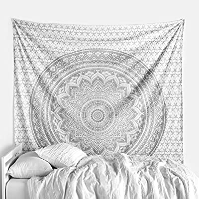 White and Silver Wall Tapestry Twin Mandala Tapestry Silver Wall Decor Tapestry Indian Wall Blanket Hippie Tapestry Boho Wall Hanging Tapestry Indian Cotton Wall Sheet Bedding Decor
