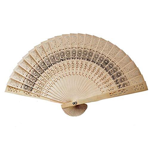 PULABO Ventilador plegable de madera hueco tallado ventilador de mano estilo chino para uso Sunmmer 1 unids rentable y buena calidad buena calidad