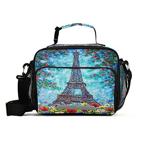 Naanle Bolsa de almuerzo de la torre Eiffel con correa ajustable para el hombro aislada a prueba de fugas, caja de picnic con doble cremallera, bolsa de almuerzo abierta para oficina, trabajo, escuela