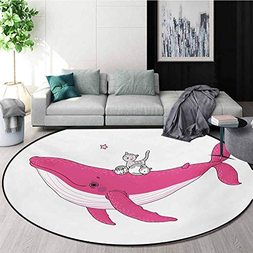 Great Deal! RUGSMAT Whale Print Area Rug,Three Cute Little Grey Kitten On Big Fish Aquatic Star Magi...