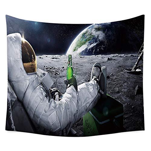 Yamer-Astronaut am Mond Getränke Bier Wandteppich böhmischen Strand Handtuch Decke Wandbehang Dekorationen für Wohnzimmer Schlafzimmer Wohnheim 150 x 130 cm