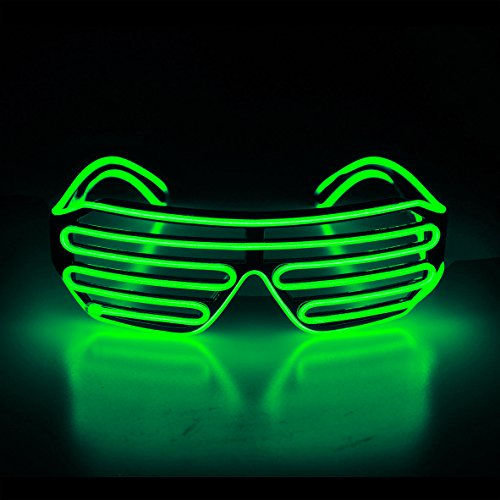 Aquat Glow Flashing Shutter Neon Rave Glasses El Wire LED Sunglasses Light Up DJ Costumes Voice Activated for Party, 80s, EDM RB02 (Light Green, Black Frame)