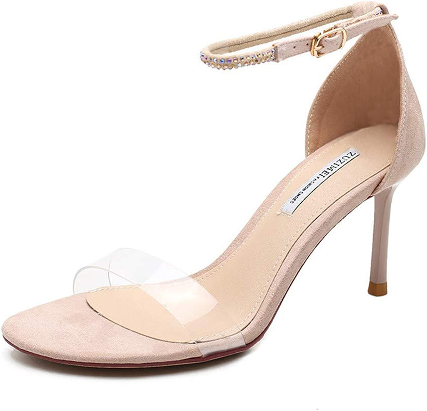 Top Shishang Women's Ankle Strap Peep Toe Extreme High Heel Pumps Wedding Party Dress Stiletto Slip On Sandals Apricot