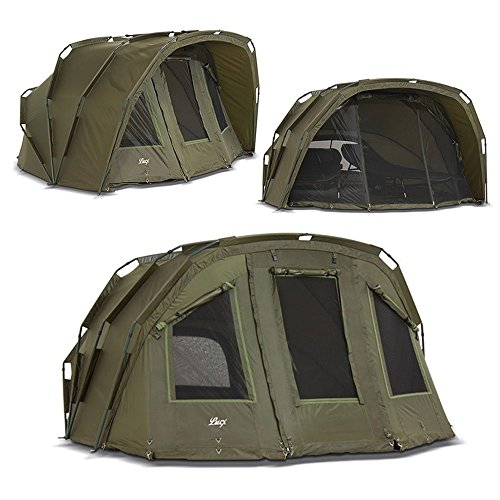 Lucx® Tiger Bivvy 2-3 Mann Angelzelt 2 bis 3 Personen Karpfenzelt Anglerzelt Carp Dome Carp Fishing Tent Campingzelt