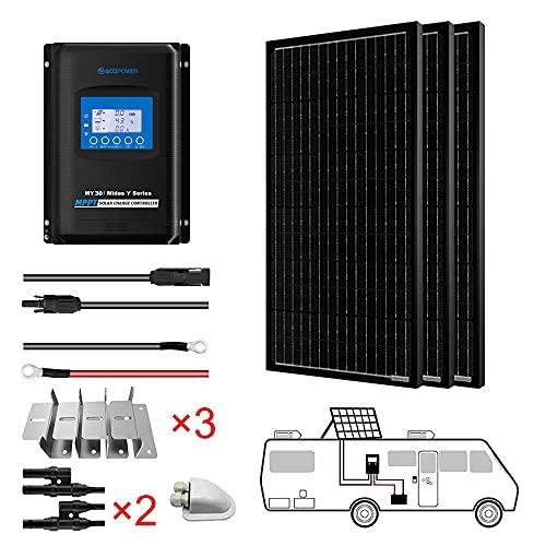 ACOPOWER 300 Watts 12/24 Volts Monocrystalline Panel Solar RV Kits