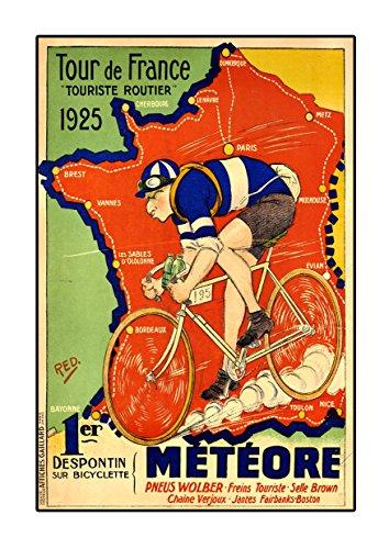 Tour de France 1925 Poster, Vintage, Foto, Fahrrad, Mode, Grafikbild, Schwarz-Weiß, Foto, Old, Retro, Druck, Oldschool
