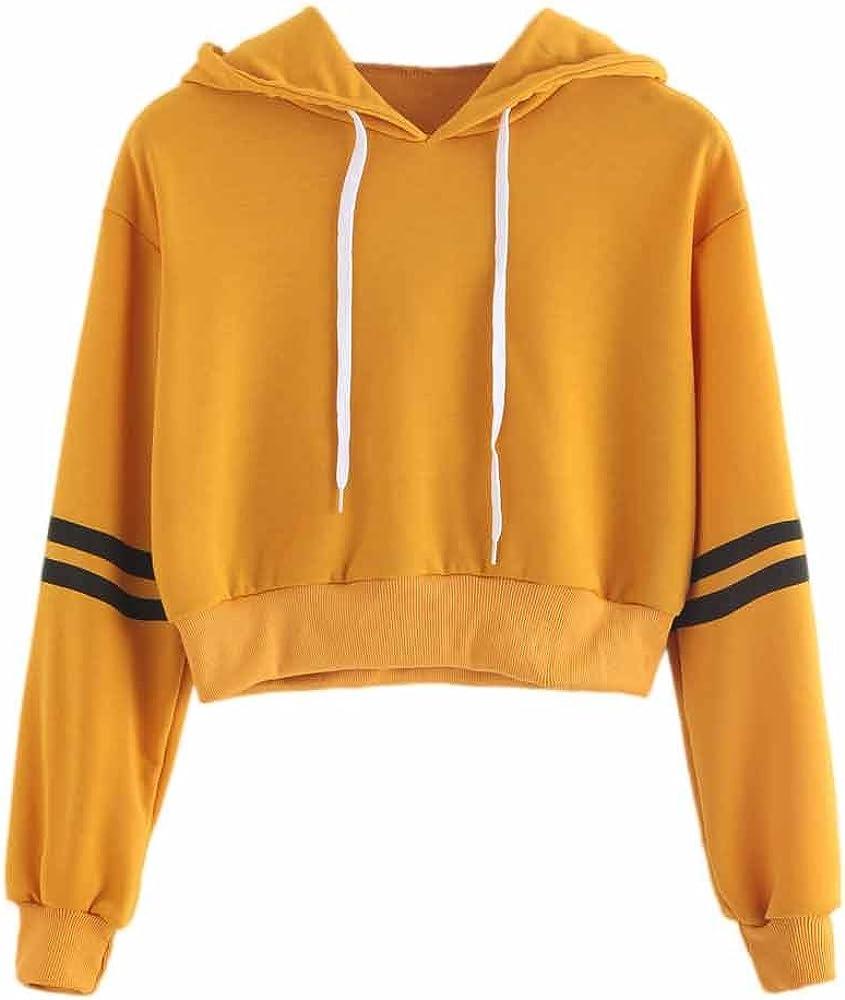 Zulmaliu Girl Max 44% OFF Sweatshirt Fashion Striped Crop Max 59% OFF Sleeve Print Long