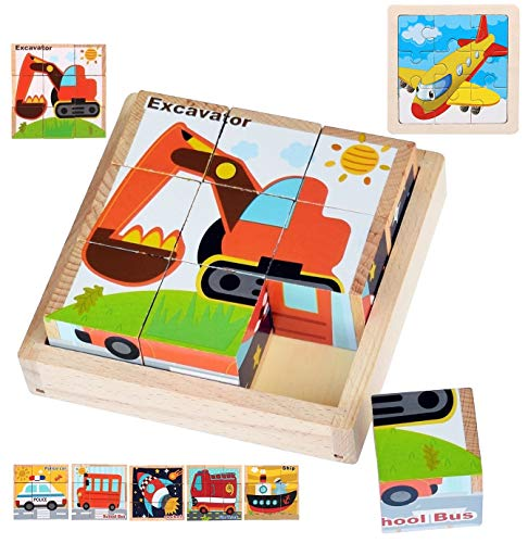 知育玩具 キューブパズル 幼児 木のおもちゃ 9キューブ 六面体パズル 絵合わせパズル [ショベルカー・消防車・パトカー・ロケット・スクールバス・船] 飛行機の板パズル ピクチュアパズル 子供向けパズル 積み木 ブロック 知育 子ども 6+歳オモチャ パズ