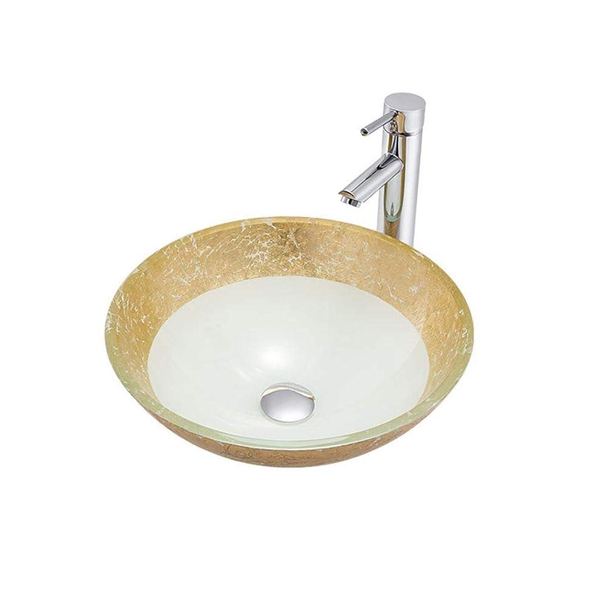 お酒こしょう逆さまに洗面ボール オイルラバーブロンズの蛇口、ポップアップドレインコンボバスルームシンク付き手描き強化ガラス容器シンク、ラウンド形状 浴室洗面台 (Color : White, Size : 42x42x14.5cm)