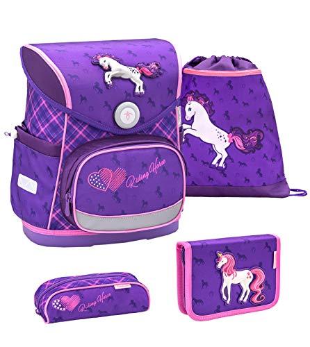Belmil ergonomischer Schulranzen Set 4 -teilig für Mädchen 1-4 Klasse Grundschule//Brustgurt/Magnetverschluss/Pferd, Horse/Lila, Purple (405-41 Horse Purple)