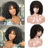 Parrucca riccia crespa CLAROLAIR Parrucche corte Bob Parrucche brasiliane di capelli umani di Remy per donne nere (25.40 cm, parrucca riccia)