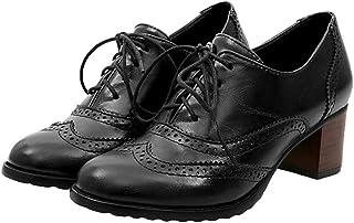 9c5534e2007 Mujer Clásico Brogue Zapatos Cabeza Redonda Tallado Zapatos con Cordones  Zapatos de Oxford Negocios Zapatos de