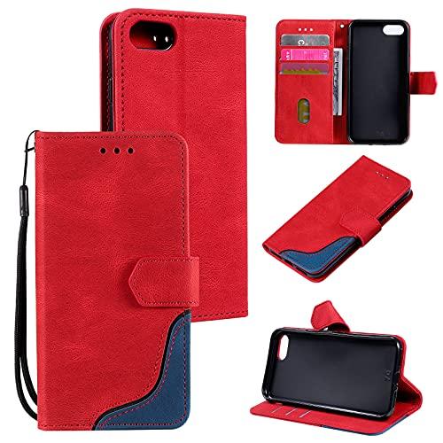 UEEBAI Klapphülle für iPhone 7/iPhone 8/iPhone SE 2020, Retro PU Lederhülle Weich TPU Handyhülle mit Kartenfach Standfunktion Magnetverschluss Flip Hülle Handytasche mit Handschlaufe -Rot