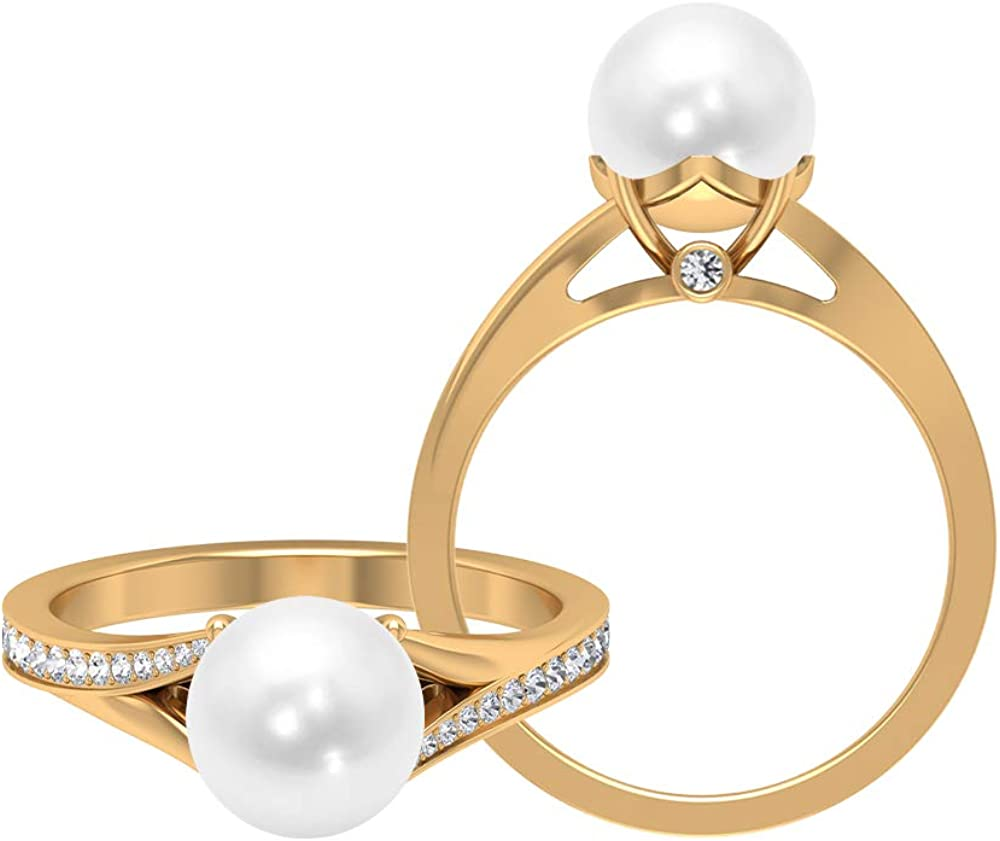 4 CT Freshwater Pearl Solitaire Ring, 1/4 CT D-VSSI Moissanite Engagement Ring, Gold Split Shank Ring (8 MM Round Shaped Freshwater Pearl), 14K Gold