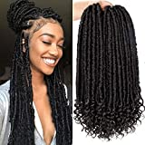 6Packs Goddess Faux Locs Crochet Hair 16 Inch Straight Goddess Locs with Curly Ends Synthetic Crochet Hair Braids for Women(1B#)