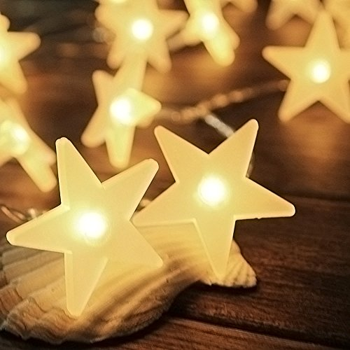InnooLight 3m 30er LED Lichterkette mit Batterie mit Sterne Warmweiß als Innen Beleuchtung Batteriebetriebene Lichterkette Weihnachtsbeleuchtung für Garten