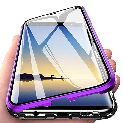 Kompatibel für Huawei P30 Lite (6,15 Zoll)Hülle,Magnetische Adsorption Metallrahmen Flip Handyhülle 360 Grad Komplett Schutzhülle Vorne und Hinten Gehärtetes Glas Transparente Cover,Schwarz Lila