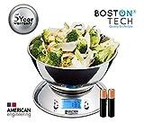 Boston Tech HK101 - Báscula de Cocina Digital con Bol Removible de Acero Inoxidable, Pantalla LCD, Temporizador y Sensor de Temperatura Capacidad 5kg(1g) / 11lbs(0,1oz)