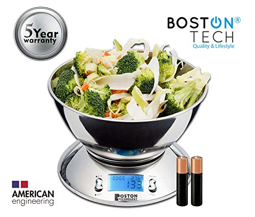 Boston Tech HK101 - Báscula Digital para Cocina de Acero Inoxidable con Bol Removible Incluido, Balanza de alta precisión, reloj temporizador, pantalla LCD, función TARA y sensor de temperatura.