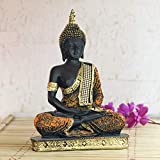 Material:Polyresin Size (L x W x H): 8 cm x 18.5 cm x 24 cm Package Contents: 1 Sitting Buddha Figurine Colour: Orange and Black Care Instructions: Wipe with soft clean cloth