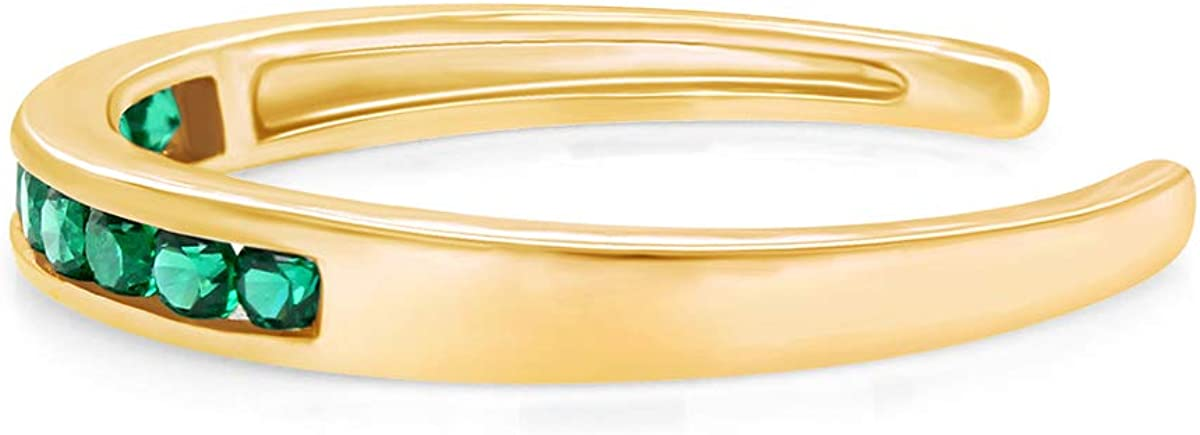 AFFY Round Cut Simulated Gemstone Channel Set 10k Gold Womens Adjustable Toe Ring