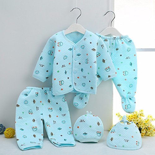 GURU KRIPA BABY PRODUCTS New Born Baby Winter Wear Keep Warm Cartoon Printing Baby Clothes Cotton Baby Boys Girls Unisex Baby Fleece/Falalen Suit Infant Clothes 5 Pcs Sets Blue for (0-3 Months)