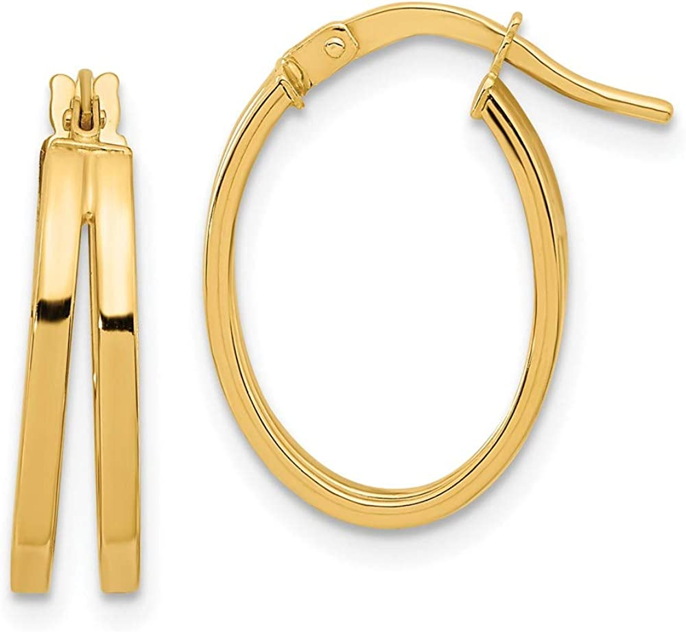 Earrings 14K Yellow Gold Hoop Women'S Double mm Polished Super beauty Ranking TOP8 product restock quality top 19.4 14