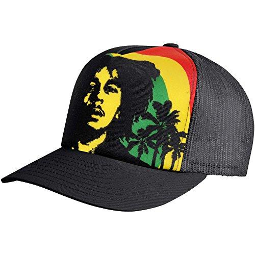 Bob Marley Men's Rainbow Trucker Cap Adjustable Black