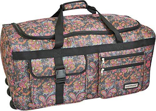 normani Leichte XXL Reisetasche Rollenreisetasche Trolley Sporttasche mit Rollen Farbe Indian Flower Größe 80 Liter